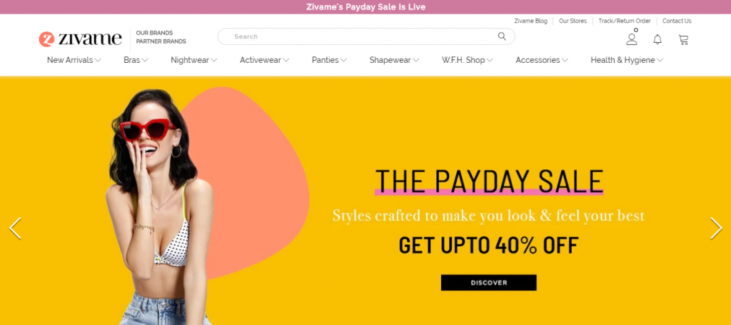 Zivame online shopping sites in india