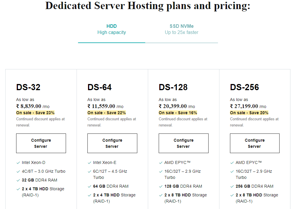 Dedicated servers hosting plans
