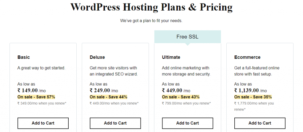 WordPress Web hosting plans